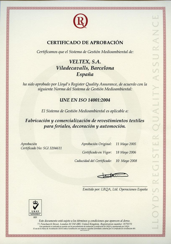 Certificado UNE EN ISO 14001:2004